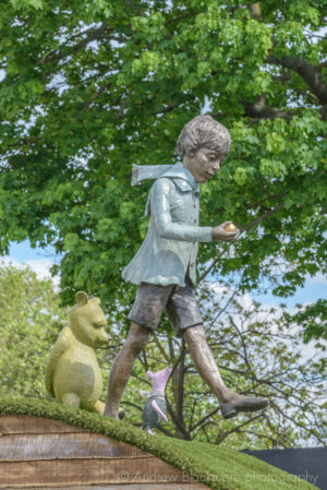 Christopher Robin, Winnie the Pooh & Piglet bronze sculptures (at RHS Chelsea Flower Show) by Robert James Workshop