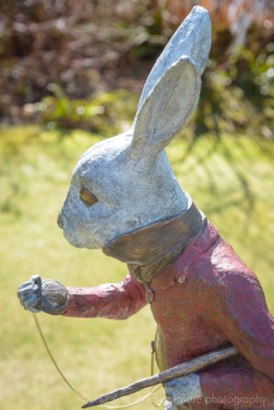 The White Rabbit bronze sculpture (at Kilver Court, Somerset) by Robert James Workshop